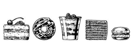Vector hand drawn illustration of cakes set. Dessert: tiramisu, donut, cranachan, vinarterta and macaron.