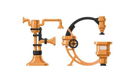 Steampunk letter  made of different technical pieces: pipes, blocks, screws, etc. Letter F and G. Illustration