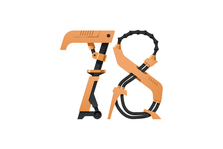 steampunk font made of different technical pieces: pipes, blocks, screws, etc. Numbers seven and eight Illustration