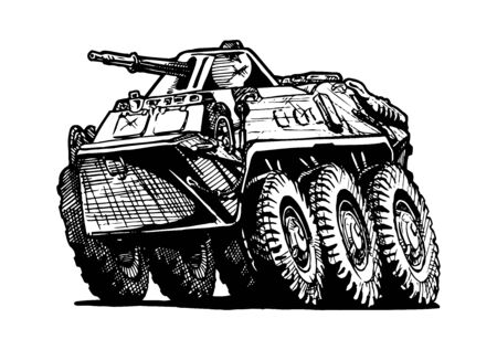 armored: Vector illustration of armored troop-carrier in comics style