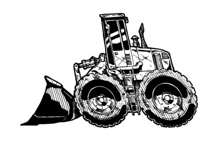loader: vector illustration of heavy equipment loader in comics style Illustration
