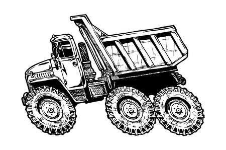 rot: vector illustration of dump truck in comics style. hot rot.