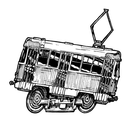 vector illustration of tram in comics style. side view.