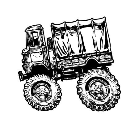 motor de carro: Ilustración vectorial de camión militar en estilo cómic. vista lateral.