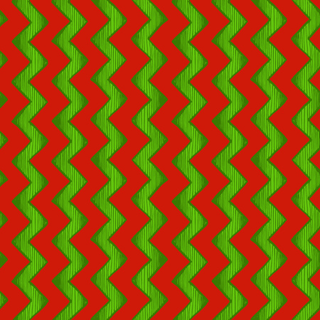 crisscross: Retro wrapping. Seamless pattern of  zigzag parallel lines. Vector illustration in ink hand drawn style. Red and green traditional Christmas colors.