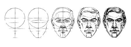 Passo a passo disegno tutorial di ritratto maschile. Illustrazione vettoriale.
