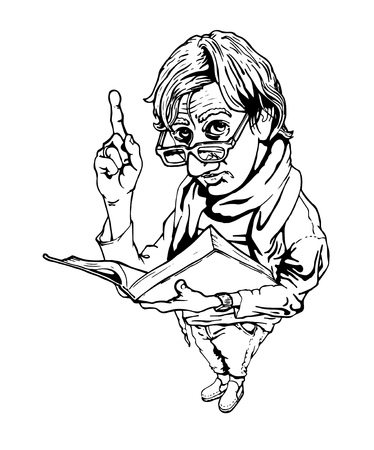 forefinger: Vector illustration of man with book and upraised forefinger in ink hand drawn style.
