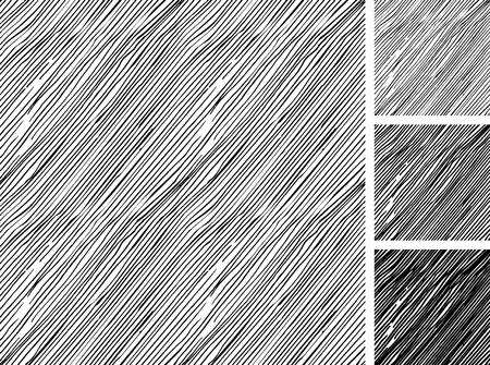手描きスケッチ大まかな平行ハッチング グランジ パターンのシームレスなパターン。テクスチャの 3 つの異なる色: ライト、中間および暗いトーン