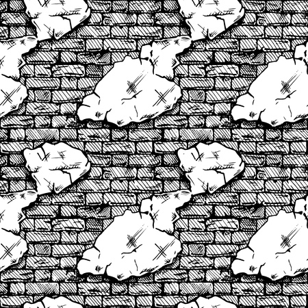 Seamless black and white pattern of grunge brick wall. Vector illustration texture in ink hand drawn style.