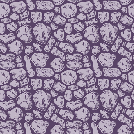 stone mason: Seamless pattern of grunge stone wall. Vector illustration texture in ink hand drawn style. Cyclopean masonry. Rubble walls.