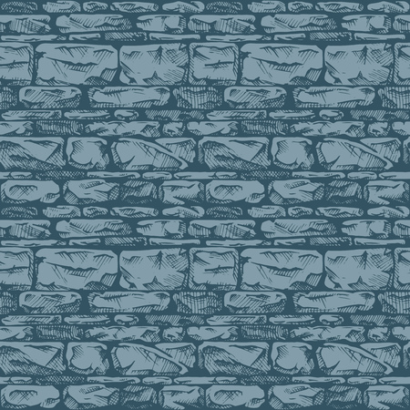 stone wall: Coursed ashlar. Seamless pattern of grunge stone wall. Vector illustration texture in ink hand drawn style.