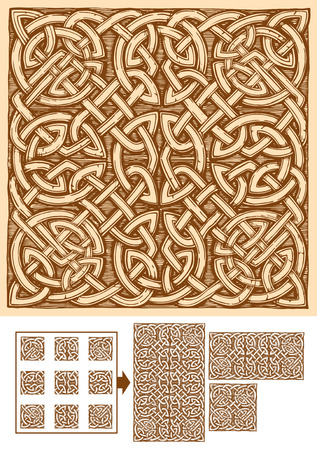 Seamless celtic knots patterns in ink hand drawn style. Pattern is composed of 9 elements. Central can be copied and pasted endless. Borders and corners are for beautiful framing of the ornament.