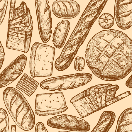 Vector seamless pattern with different breads, bakery products and sweet pastries. illustration background in ink hand drawn style.