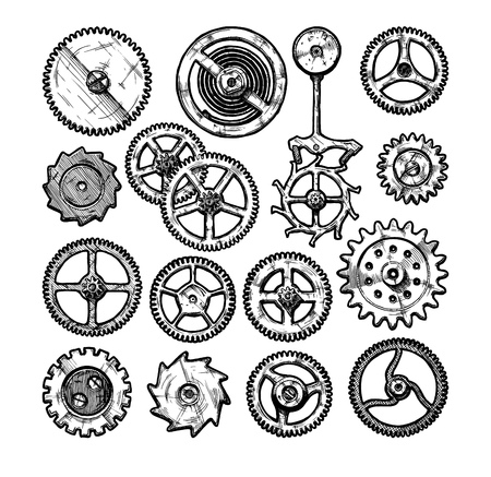 Vector ink hand drawn set of gear wheels. Black and white illustration. isolated on white. Ilustracja