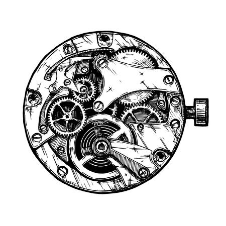 Vector ink hand drawn illustration of clockwork. Black and white. isolated on white. Illustration