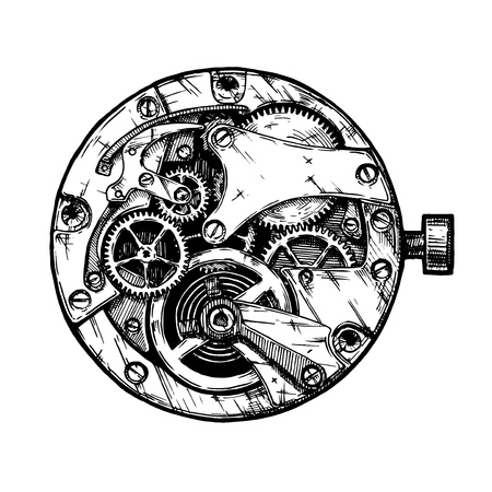 Vector ink hand drawn illustration of clockwork. Black and white. isolated on white. Stock Illustratie