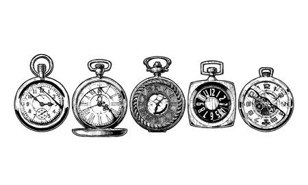 Conjunto de relojes de bolsillo. Ilustración en blanco y negro. Aislados en blanco.