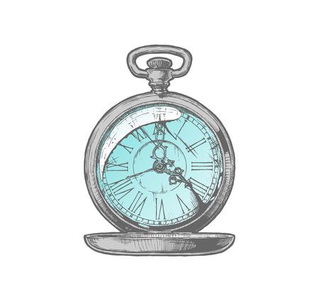 Vector tinta mano ilustración de reloj de bolsillo antiguo. Aislados en blanco.