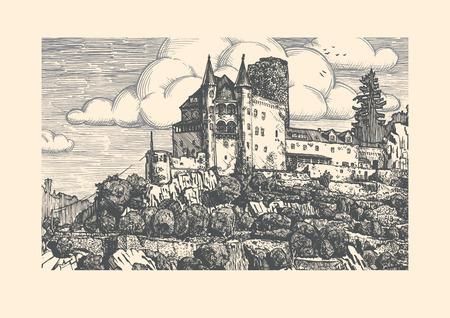 chateau: Vector illustration of medieval Katz Castle in vintage etching style. Sankt Goarshausen, Rhine Gorge, Rhineland-Palatinate, Germany. Illustration