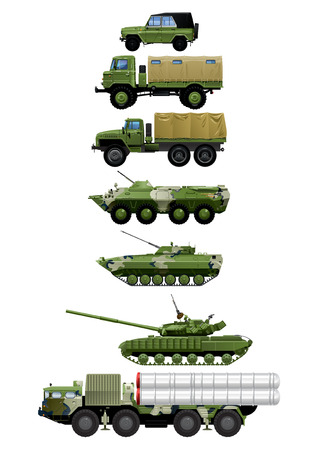Photo realistic vector illustration set of different modern and vintage military vehicles. isolated on white background. Vector Illustration