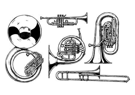 vector dibujado a mano conjunto de instrumentos musicales de cobre amarillo. Sousaphone, trompeta, cuerno francés, tuba y el trombón. Ilustración de vector