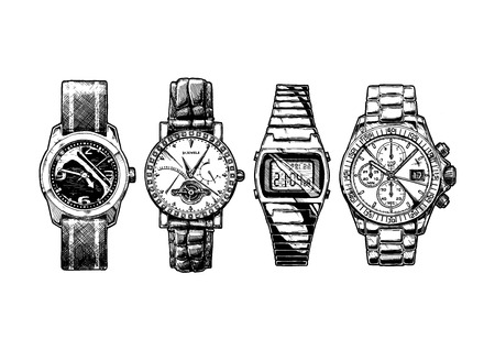 Vector hand drown illustration set of men wristwatches.