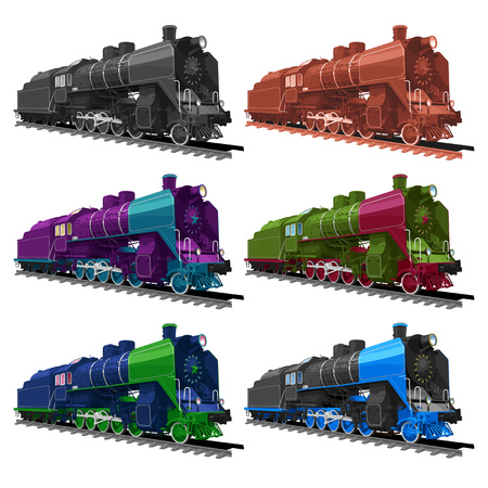 coal: Vector ilustration set of an old steam locomotive in different color: black-and-white, sepia, violet, green, blue and black. isolated on white background. Solid fill only, no gradients.