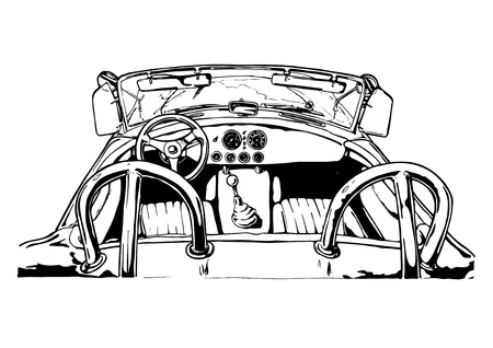 Vector illustration of  roadster interior stylized as engraving. Ilustração