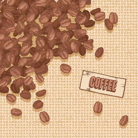 beans: Illustration  of coffee emblem and Arabica beans on canvas texture. Illustration