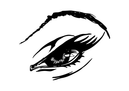 Vector black and white hand drawn illustration of woman eye in comics style.