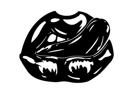 Vector black and white hand drawn illustration of woman open mouth with licking lips in comics style. Isolated on white background.
