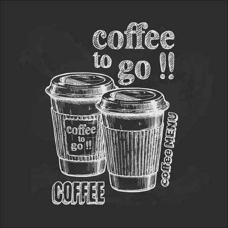 Vector vintage hand drawn illustration of coffee to go in paper cups on blackboard. Vectores