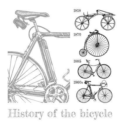 Vector hand drawn illustration of bicycle evolution set in ink hand drawn style. Types of cycles: draisine, penny-farthing, safety bicycle and modern racing bike.