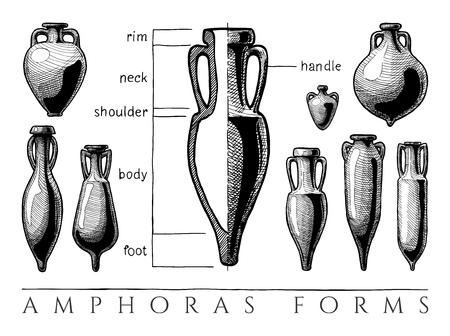 Floreros formas. Ejemplo dibujado a mano del vector de las amphoras y de las formas de Amphoriskos fijadas. Partes del ánfora antigua típica, infografía.