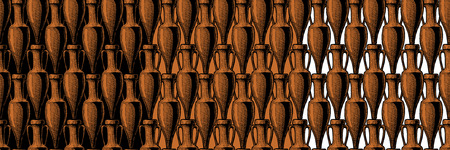 vector seamless pattern with ancient amphora. illustration background in black-figure pottery and red-figure vase painting style. Illustration