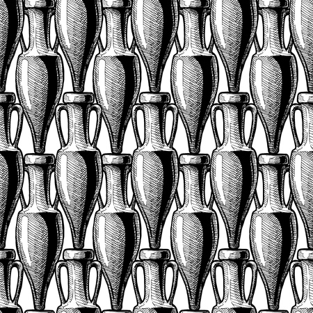 vector  black-and-white  seamless pattern with ancient amphora. illustration background in ink hand drawn style  イラスト・ベクター素材