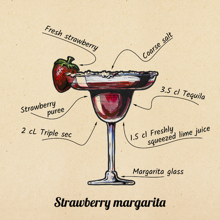 ink drawing and watercolor illustration of cocktail Strawberry margarita and its ingredients. On old paper background.