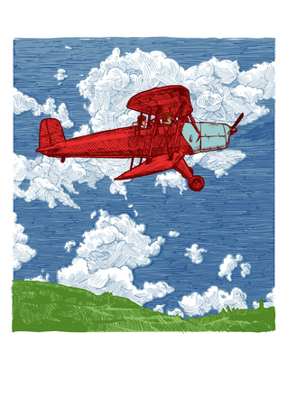 Vector color hand drawn illustration of vintage red biplane. Airplane on the blue sky background. Side view.
