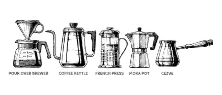 Vector hand drawn illustration set of coffee preparation. Pour over brewer, coffee kettle, french press, moka pot and cezve. Иллюстрация