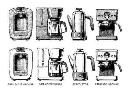 Vector hand drawn illustration set of coffee machines. Single-cup maker, drip coffeemaker.
