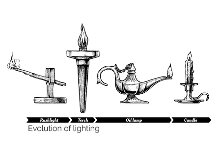 Hand drawn illustration of the lighting evolution set. Ancient age. Rush light, torch, oil lamp and candle. Isolated on white background.
