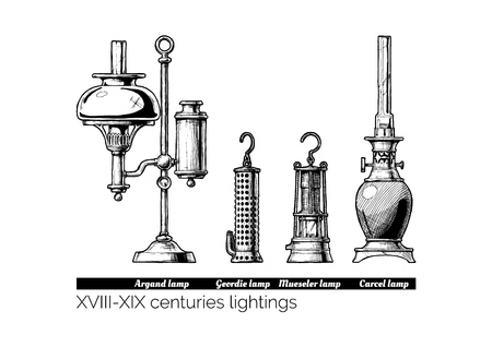 Hand drawn illustration of XVIII - XIX centuries lightings evolution. Argand, Stephenson (Geordie), Davy (Mueseler) and Carcel lamps. Isolated on white background.