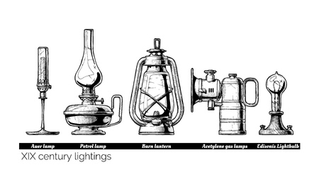 Hand drawn illustration of XIX century lightings evolution. Auer lamp with gas mantle, Barn lantern, kerosene and carbide lamps, Edison Light bulb. Isolated on white background.