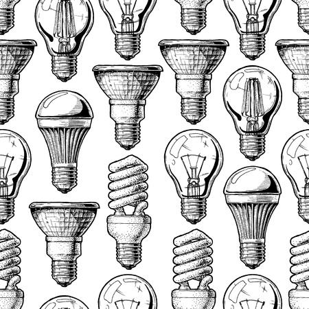 Ampoule différente Vector illustration fond à l'encre style dessiné à la main sur fond blanc. Vecteurs