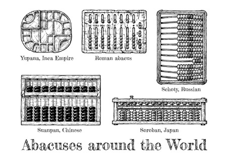 Abacuses around the world. Vector hand drawn illustration of the different abaci. Yupana – Inca Empire, Roman abacus, Schoty – Russian, Suanpan – Chinese and Soroban – Japan.