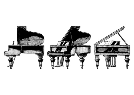 A Vector hand drawn illustration of Grand Piano in orthographic projections. front, right side and ? views. Illustration