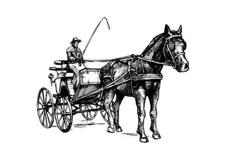 Vector hand drawn illustration of spider phaeton. Open sporty carriage drawn by one horse. Black and white, isolated on white. In vintage engraved style.
