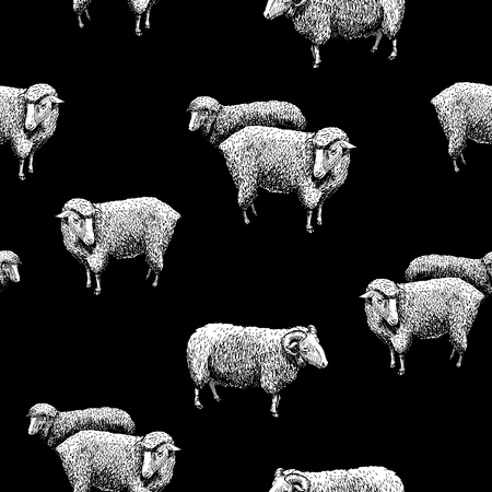 Naadloos patroon met schapen. Vectorillustratie in vintage gegraveerde stijl op zwarte achtergrond.