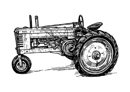 Vector hand drawn illustration of retro three%u2013wheeled tractor in vintage engraved style. isolated on white background. Side view.