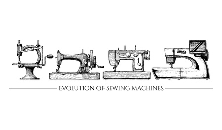 computerized: Vector illustration of the sewing machine evolution set. From 19th century vintage sewing machines to a modern computerized. isolated on white background. Side view.